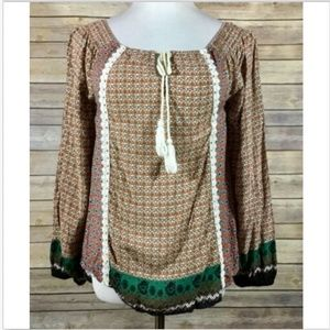 Flying Tomato Long Sleeve Boho Peasant Top Small